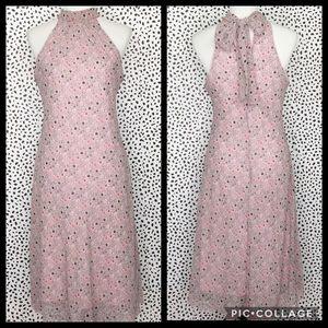 Bisou Bisou Print Bias Cut Tie Neck Midi Dress